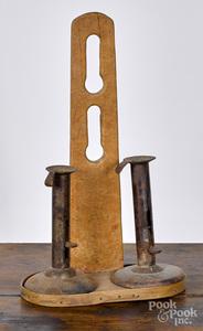 Figured maple hanging light holder, 19th c.