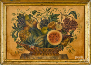 Oil on velvet still life theorem, mid 19th c.