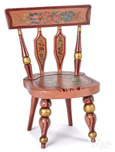 Joseph Lehn painted and decoupage doll chair