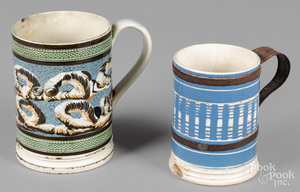 Two mocha mugs, 19th c.