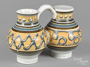 Rare mocha gemel jug, 19th c.