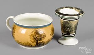Mocha mush mug and spill vase, 19th c.