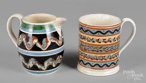 Mocha pitcher and mug, 19th c.