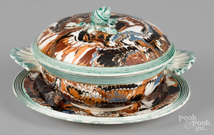 Mocha bowl, cover and undertray, 19th c.