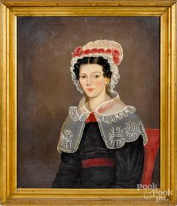 William Bonnell oil on canvas folk portrait