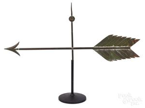 Copper arrow weathervane, early 20th c.
