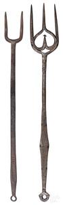 Two Pennsylvania wrought iron flesh forks