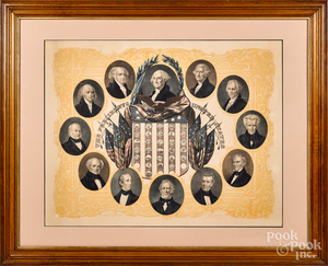 Color lithograph of The Presidents of the US