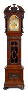 Arts and Crafts oak tall case clock, ca. 1900