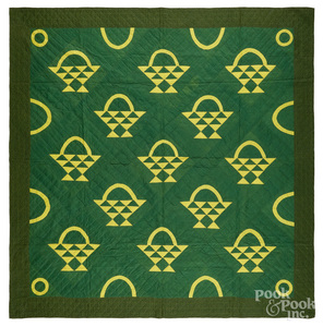 Green and yellow basket quilt, ca. 1900