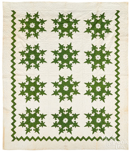 Green and white appliqué quilt, mid 19th c.