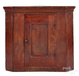 Pennsylvania painted pine hanging corner cupboard