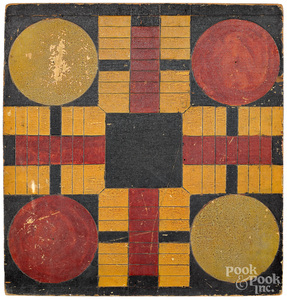 Painted pine Parcheesi gameboard, late 19th c.