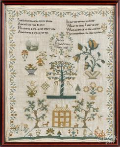 Silk on linen Adam & Eve sampler, dated 1820