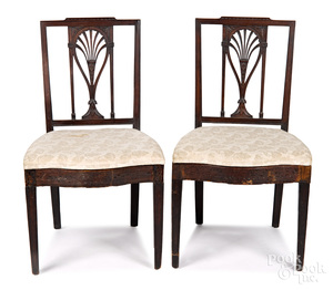 Pair of Philadelphia carved mahogany dining chairs