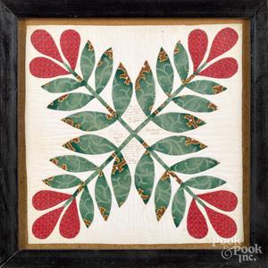 Appliqué quilt panel, dated 1846