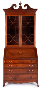 Southern Federal inlaid mahogany desk and bookcase