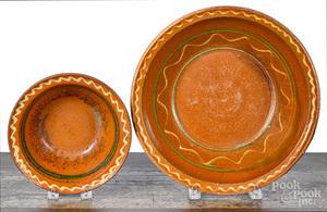 Two Pennsylvania redware bowls, 19th c.