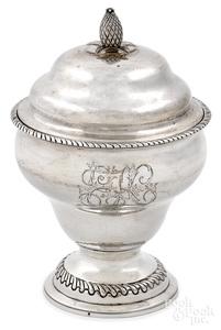 Philadelphia silver covered sugar, ca. 1795