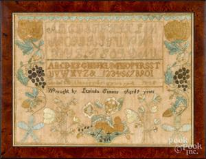 New England silk on linen sampler, dated 1827