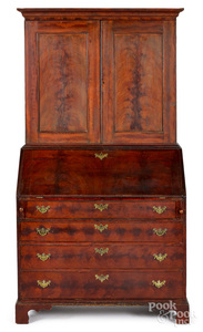 New England painted pine two-part secretary