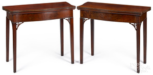 Pair of Rhode Island Chippendale card tables