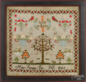 Wool on linen Adam and Eve sampler, dated 1845