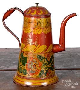 Red toleware coffee pot, 19th c.