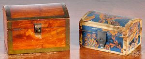 Two dome lid dresser boxes, 19th c.