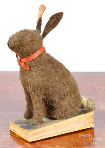 Mohair rabbit squeak toy, late 19th c.