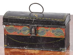 Two black dome lid boxes, 19th c.