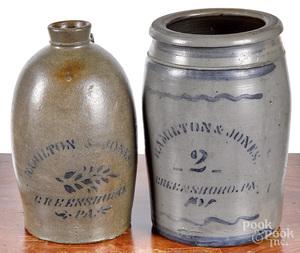 Western Pennsylvania stoneware crock and jug