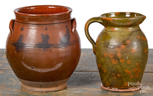 Redware crock and pitcher, 19th c.