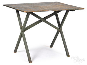 Painted sawbuck table, late 19th c.