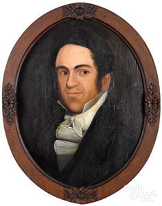 Ethan Allen Greenwood oil on panel portrait
