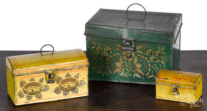 Two yellow toleware dome lid boxes, 19th c.