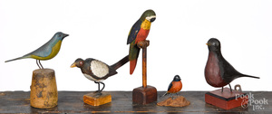 Five folk art carved and painted birds