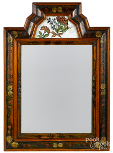 Painted courting mirror, mid 18th c.