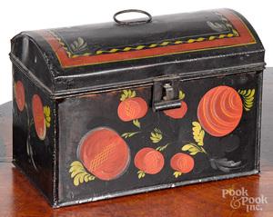 Pennsylvania toleware dome lid box, 19th c.