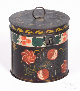 Pennsylvania toleware canister, 19th c.