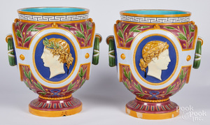 Pair of large Minton Majolica planters