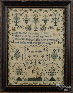 English silk on linen sampler, dated 1832