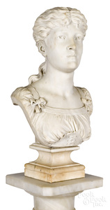 Aristide Fontana carved marble bust of a woman