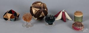 Seven sewing pincushions, ca. 1900