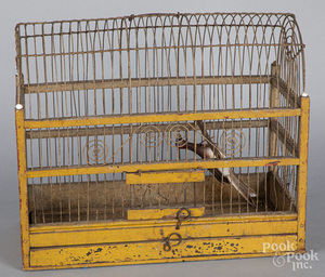 Painted wood and wire birdcage, late 19th c.