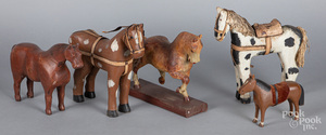 Five carved and painted horses, early/mid 20th c.