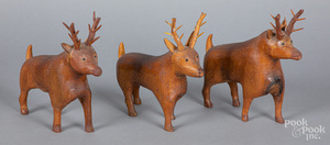 Three carved deer, early 20th c.