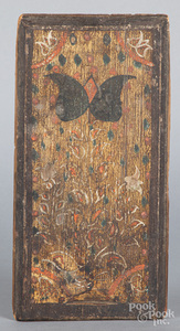 Folk art painted pine box lid, late 18th c.