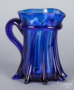 Pillar molded cobalt glass pitcher
