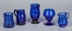 Five pieces of blown cobalt glass